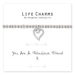 Life charms bracelet - you are a fabulous friend message